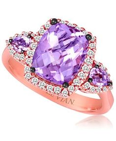 Le Vian 14k Rose Gold Ring, Purple Amethyst (3 ct. t.w.) and Diamond (1/4 ct. t.w.) Ring - Rings - Jewelry & Watches - Macy's