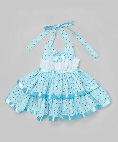 Look what I found on #zulily! Baby Blue & White Polka Dot Halter Bow Dress - Toddler & Girls #zulilyfinds