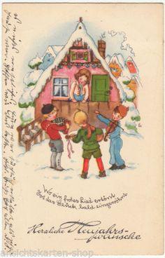Kuenstler-AK-LIESEL-LAUTERBORN-1941-Neujahr-Kinder-mit-Musikinstrumenten-62143