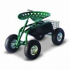 rolling Garden scooter gardening stool pad plant seat w wheels NO
