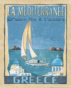 Vintage travel poster of Greece Illustrations Vintage, Illustrations And Posters, Old Posters, Pub Vintage, Travel Ads, Travel Photos, Time Travel, Tourism Poster, Retro Poster
