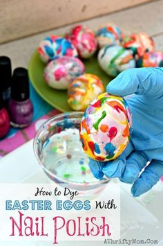 How to dye eggs with Nail Polish and water, Finger Nail Polish SWIRL eggs, Easter Eggs, #Easter, How to make swirled easter eggs, Tie Dye Eggs, #Easter #Hacks
