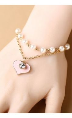 Sparkling Heart and Pearls Bracelet