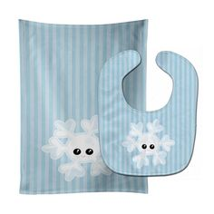 Weather Snowflake Face Baby Bib & Burp Cloth BB7149STBU