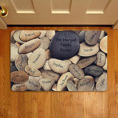 Family Rocks Doormat | Personal Creations   Just an idea for a photo opp - real deal, maybe.