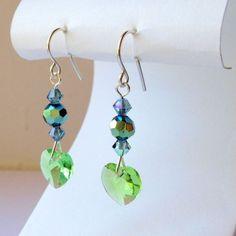 Peridot And Indian Sapphire Heart Earrings