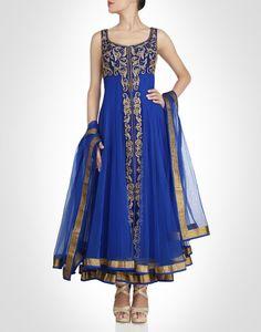 Blue anarkali with crafted baroque motifs. Shop Now: www.kimaya.in