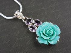 Amethyst Gemstone & Ceramic Floral Sterling Silver Necklace