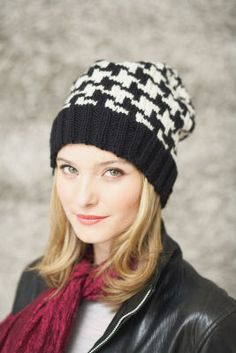 Patons® Classic Wool™ Houndstooth Hat (Knit), large
