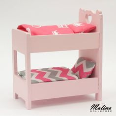 "Polubienia: 16, komentarze: 1 – Malina Dollhouse (@malina_dollhouse) na Instagramie: ""Mini bunk bed for mini dolls. Made of plywood with soft corton linen. Romantic one. #minibunkbed…"""