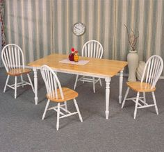 5pc Dining Table & Chairs Set White & Natural Finish $347.67