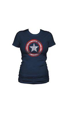 03c4d36f9 13.49$ - Juniors Marvel Comics Captain America Shield T-shirt XL from Captain  America- Captain America - Shield Womens S/S T-Shirt in Navy