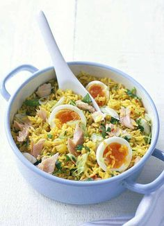 The easiest kedgeree recipe we've ever created means you can enjoy this weekend favourite in the week. Using microwaveable rice, and hot-smoked trout, as well as the traditional spices of curry powder and chilli all the traditional elements are there - the only difference is that it's ready in half the time!