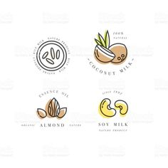 Vector set of packaging design elements and icons in linear style - almond, coconut, rice and soy milk Web Design, Game Design, Food Design, Vector Design, Vector Art, Typography Logo, Logo Branding, Branding Design, Milk Packaging