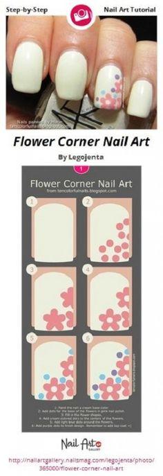 Flower Corner Nail Art by Legojenta - Nail Art Gallery Step-by-Step Tutorials by Nails… Trendy Nail Art, Nail Art Diy, Easy Nail Art, Cool Nail Art, Nail Art Designs, Simple Nail Designs, Nails Design, Salon Design, Galeries D'art D'ongles