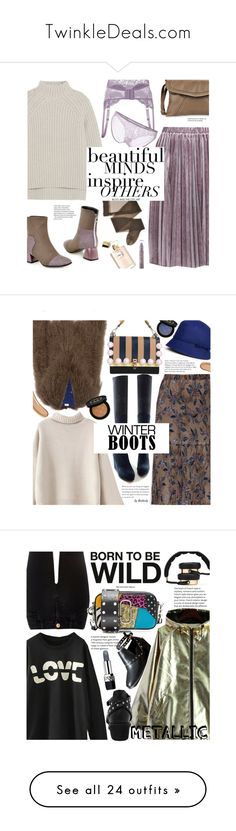 """""""TwinkleDeals.com"""" by beebeely-look ❤ liked on Polyvore featuring twinkledeals, Theory, Forever 21, pleatedskirts, winterboots, wintersweater, braset, Gucci, Fendi and Saks Potts"""