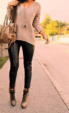Black leather leggings and knit sweater