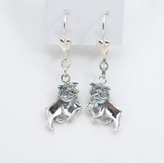 Sterling Silver Bulldog Earrings by Donna Pizarro from the Animal Whimsey Line of Dog Jewelry