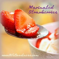 It's Strawberry Season! Oh I just love fresh, sweet strawberries, don't you! My mom used to marinate them in sugar and put them over sponge cake with fresh whipped cream. Whipped Cream, Ice Cream, Sponge Cake, Cream Cake, Strawberries, Real Food Recipes, Pancakes, Paleo, Sugar