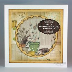 The Potting Shed collection, card designed by Neil Burley, using paper pad, toppers, sentiments.  Gorgeous autumnal feel to collection featuring hedgehogs, flower pots, wellington boots and all things to do with gardening.