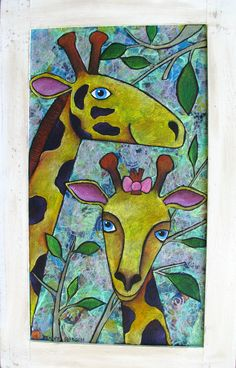 Mother and child giraffe by pennydobson on Etsy