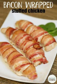 With a mouthful name like, 'Bacon Wrapped Stuffed Chicken' you'd assume it be a complicated and time-consuming recipe. It IS a mouthful of delicious . Cooked Chicken Recipes, Easy Baked Chicken, Turkey Recipes, Dinner Recipes, Cooking Recipes, Dinner Ideas, Keto Recipes, Bacon Wrapped Stuffed Chicken, Cream Cheese Chicken