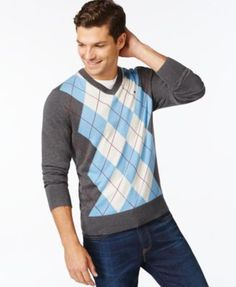 TOMMY HILFIGER Tommy Hilfiger Signature Argyle V-Neck Sweater . #tommyhilfiger #cloth # sweaters