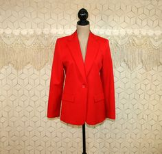 90s Red Blazer Jacket Worsted Wool Jacket Womens by MagpieandOtis