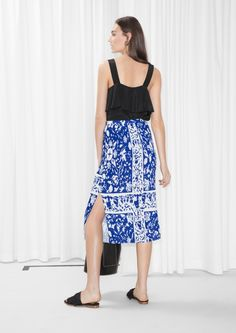 & Other Stories image 3 of Pleats Panel Skirt in Blue