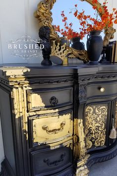 Bold Black and Gold Leaf Sideboard Painting Tutorial- Brushed by Brandy Bold Black and Gold Leaf Sideboard Painting Tutorial- Brushed by Brandy Brushed by Brandy DIY Furniture Painting Tutorials brushedbybrandy nbsp hellip makeover black Gold Painted Furniture, Gold Leaf Furniture, Black Furniture, Funky Furniture, Refurbished Furniture, Furniture Makeover, Furniture Projects, Repainting Furniture, Painted Sideboard