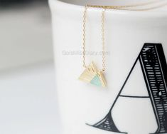 Excited to share the latest addition to my #etsy shop: Mint Gemstone Mountain Necklace, dainty mint Mountain Necklace, Snowy Mountain Necklace, Mountain Charm, Nature Jewelry, gift ideas http://etsy.me/2ApvH08 #jewelry #necklace #gold #daintynecklace #snowymountain #mountainneckl