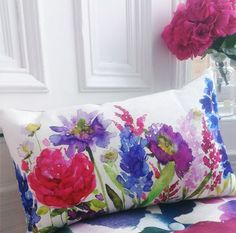 It is with great pleasure that we can reveal our \'Centenary\' cushion. Designed exclusively for Peter Jones to celebrate the RHS Chelsea Flower Show. Rhs Flower Show, Chelsea Flower Show, Flower Art, Fabric Painting, Fabric Art, Watercolor Fabric, Bluebellgray, Flower Shower, Fabric Wallpaper