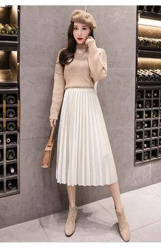 d48611ebc8 2018 Autumn Winter Velvet Skirt High Waisted Skinny Large Swing Long Pleated  Skirts Metallic 18 Colors Plus Size 3XL Midi Saia