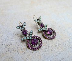 Vintage Rhinestone Earrings Purple by GlitterFoundJewelry on Etsy