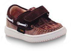 FENDI toddler boys Crosta boat shoes velcro, brown