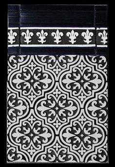arabesque and fleur de lis (fleur de lis shows up a lot in India too) like this combo of patterns. Textile Patterns, Textile Prints, Print Patterns, Textiles, Tile Design, Pattern Design, Pattern Art, Patterned Wall Tiles, Arabesque Tile