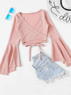 SheIn offers Tie Hem Flounce Sleeve Top & more to fit your fashionable needs. Fashion Mode, Teen Fashion Outfits, Pink Outfits, Outfits For Teens, Girl Fashion, Womens Fashion, Fashion Ideas, Fashion Tips, Fashion Trends