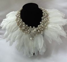 White Beaded Necklace with white feathers n rhinestones, Wedding Accessory, Angel, Haute Couture Collar, Bridal Gown Feather Collar Necklace Maxi Collar, Beaded Collar, Collar Necklace, Beaded Necklace, Gold Collar, Crochet Collar, Pearl Necklace, White Statement Necklaces, Feather Jewelry