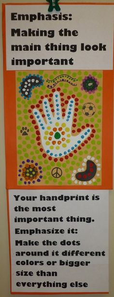 Ms Maggie Mo's Aboriginal dot painting example explaining emphasis by iris-flower