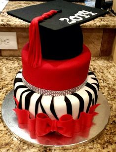 Red,White, and Black Graduation Cake