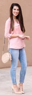 White Knit / Bleached Skinny Jeans / Nude Pumps KNIT & WOVEN SPLIT-NECK TOP PRETTY PEACH SCS Colors Available Black, Blue,NavyTrending Summer Spring Fashion Outfit to Try This 2017 Great for Wedding,casual,Flowy,Black,Maxi,Idea,Party,Cocktail,Hippe,Fa
