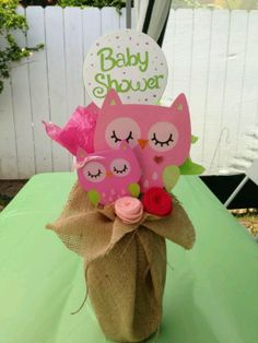 Owl baby shower centerpiece- A way to use that extra burlap I bought.