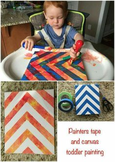 and baby painting Toddler one year old ginger baby painting on canvas from Micheals using painters. Toddler one year old ginger baby painting on canvas from Micheals using painters tape in a herringbone chevron pattern. Fun sensory activity for baby! Nanny Activities, Babysitting Activities, Infant Activities, Preschool Activities, Activities For One Year Olds, Toddler Play, Toddler Learning, Baby Play, Baby Crafts