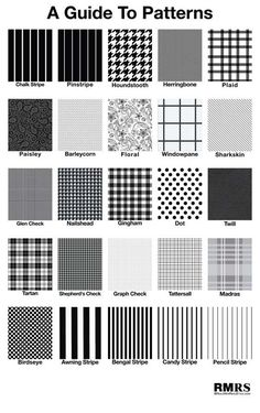 Guide-To-Patterns-black and white chalk stripe fashion style trend summer winder fall 2015 2017 plaid windowpane pencil stripe candy stripe inspiration cool: