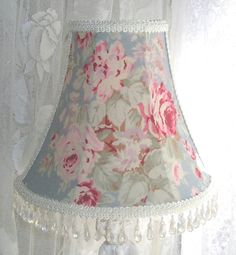 "CUSTOM 7 "" LAMPSHADE shabby Pink ROSES on BLUE fabric chic Cottage Lamp Shade"