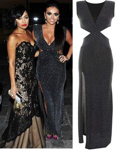 Jessy Nelson wears LOVE Black And Silver Lurex Cross Neck Cut Out Maxi