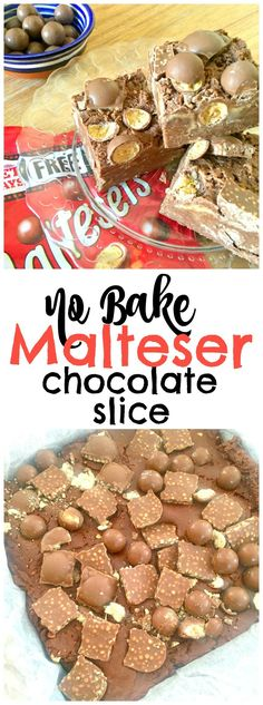 Youll LOVE this Easy No Bake Malteser Chocolate Slice recipe - its a TRIPLE Malteser hit with Malteser chocolate, malt powder and chopped Maltesers! No Bake and five minutes to make! Easy quick No Bake Malteser Recipe baking recipes Chocolate Slice, Chocolate Recipes, Chocolate Malt, Chocolate Heaven, No Bake Desserts, Easy Desserts, Dessert Recipes, Cake Recipes, No Bake Recipes