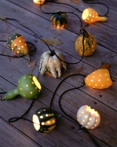 This Halloween, hard-fleshed decorative gourds can find life beyond the centerpiece bowl as hanging outdoor lights. Decorative Gourds, Hand Painted Gourds, Diy Projects To Try, Craft Projects, Fall Crafts, Diy And Crafts, Outdoor Hanging Lights, Gourds Birdhouse, Deco Nature