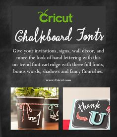 {Giveaway} Cricut Chalkboard Fonts Digital Cartridge Giveaway via SewWoodsy.com #giveaway #cricut