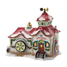 "Department 56: Products - ""North Pole Bike Shop"" - View Lighted Buildings"